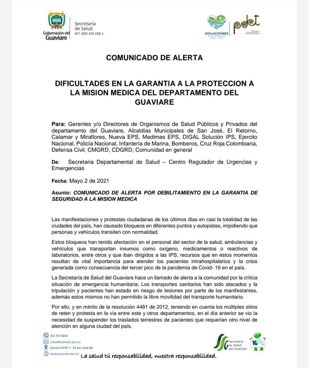 Suspenden servicios de ambulancias de Guaviare a Meta y Bogotá