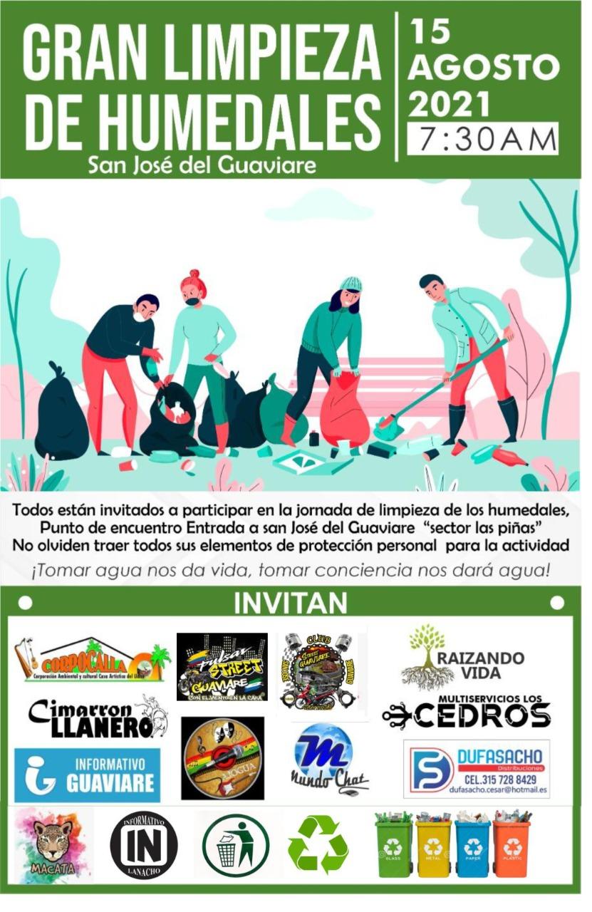 Jóvenes se unen para jornada de limpieza a humedal de San José del Guaviare